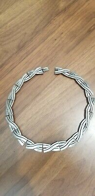 Fabulous Vtg Taxco Mexican Sterling Silver necklace Signed TRM Modernist NR!!
