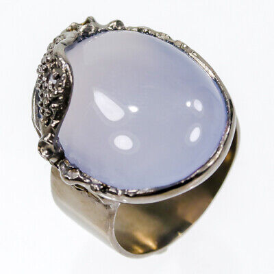 Fine Art SET28ct  Natural Chalcedony 925 Sterling Silver Ring Size 7.5/R42755