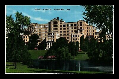 Dr Jim Stamps Us County Hospital Milwaukee Wisconsin Linen View Postcard
