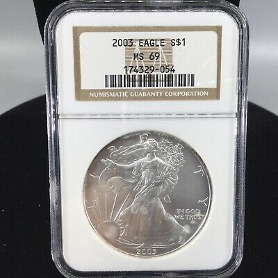 2003 American Silver Eagle 1 oz NGC MS69 Graded 1$ United States Coin