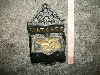Cast Iron Matches Match Holder Wall Hanging Black