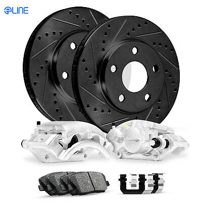 For 1990 Lexus LS400 Front Rear eLine Black Slotted Brake Rotors