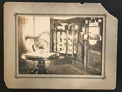 Antique Victorian Parlor Room, Fine Dinnerware, Store Display Cabinet Card Photo