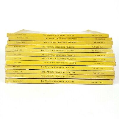 National Geographic Magazine 1936 Complete 12 Month Set Coca Cola Ads No Insert