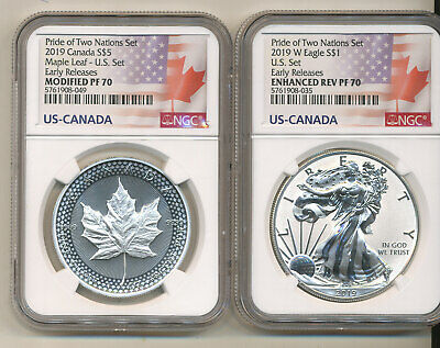 2019 NGC PF70 ER PRIDE 2 NATIONS SET Reverse Proof Silver Eagle  $5 Maple Leaf