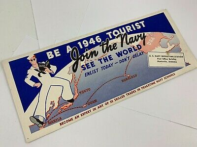 Vintage 1946 Join The Navy See The World Blotter Navy Recruiting