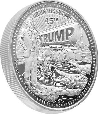 """One President Trump """"Drain The Swamp"""" 1oz Silver Proof Like Coin (t6s)"""