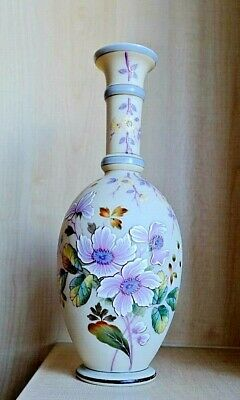 An Antique Victorian Bohemian Large Hand Painted Opaline Glass Floral Vase