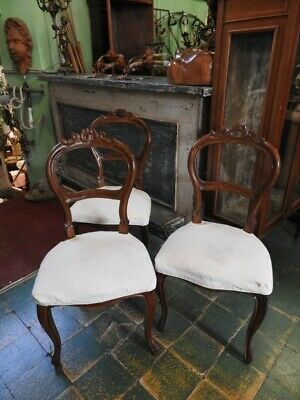 Group of 6 Ancient Chairs from '800 in Nut Period Luigi Filippo Piedmont