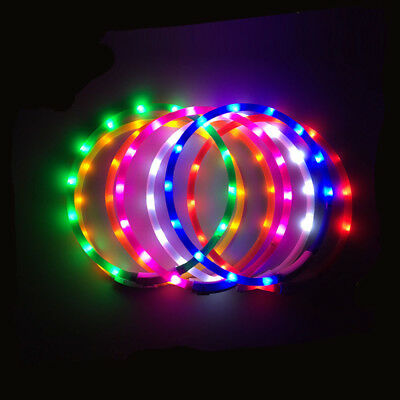 LED Flashing Light Collar For Pet Dog Puppy USB Rechargeable Band Glow Belt