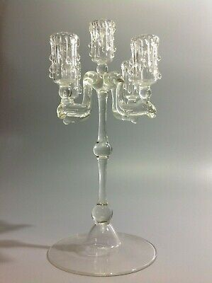 Vintage Glass Wax Drip 5 Branch Candelabra