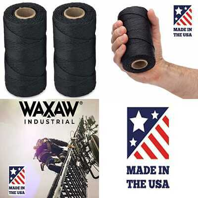 335 Yards 115-Pound Loop Strength Cable Tie Down Lacing 1,005 feet Waxed 100/% Polyester Black Twine//Cord 2 Pack | 9-ply