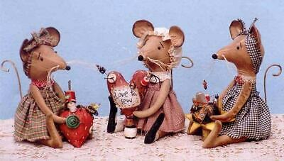 """*NEW* Cloth Folk Art Doll Pattern """"Country Mouse Pin Keeps"""" By Ginny Lettorale"""