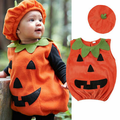 Baby Toddler Clothes Halloween Pumpkin Costume Cosplay Romper with Cap Outfits