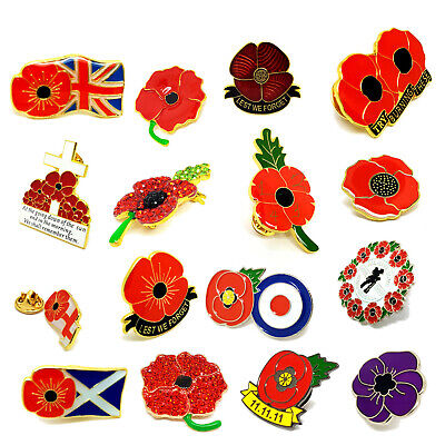 Collection of Poppy Lest we Forget Soldier Metal Enamel Pin Badge Crystal Broach