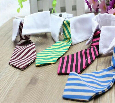 Neck Tie For Pet Dog Cat Animal Striped Bowtie With White Collar Adjustable