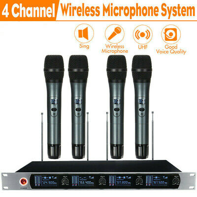 Professional UHF 4-Channel Wireless Microphone System w/ 4 Cordless Mic