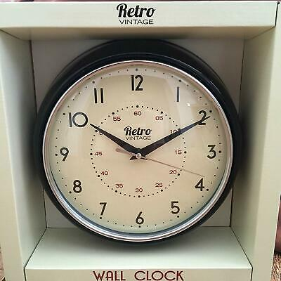Shabby Chic Retro Vintage Diner Round Wall Clock Office Kitchen Black And White.