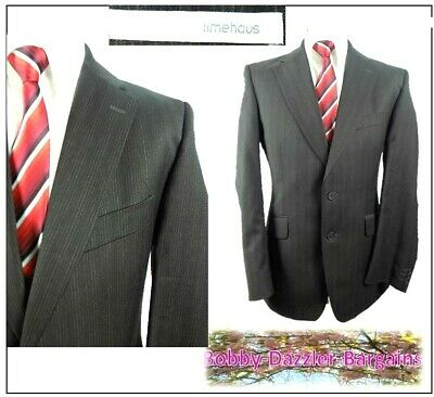 "Limehaus Pure wool  2 piece mens suit Ch40""R W34"" L32"" Dark Brown Striped"