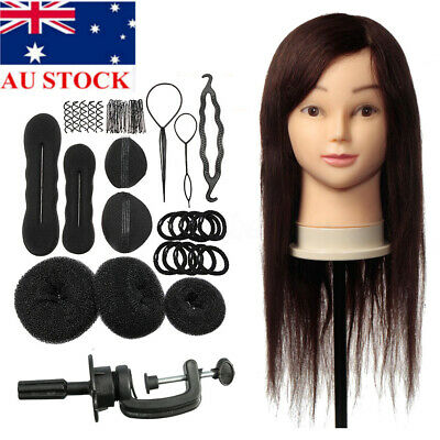 24'' 100% Human Hair Training Practice Head Mannequin Hairdressing + Braid  OZ