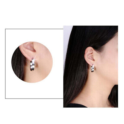 Womens Simple Stainless Steel Perfect Polished Surface Stud Earrings Jewelry