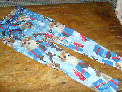 VGUC size girls 10 Justice Christmas reinderr puppy dog leggings blue gifts snow