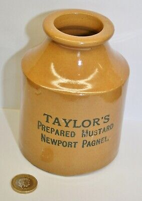 "Rare Large Antique ""TAYLOR'S Prepared Mustard NEWPORT PAGNELL"" Catering Size Jar"
