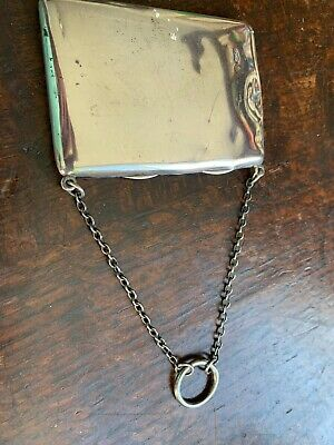 Edwardian Antique Solid Silver Stamp & Calling Card Case S Mordan Chester 1909
