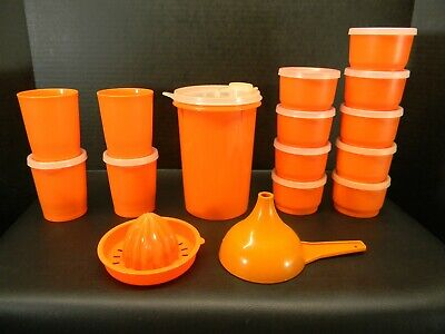 Vintage Tupperware Orange Pitcher, small cups, snack cups, lids & misc