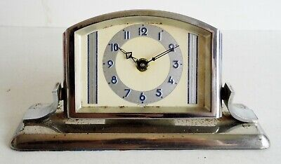 SUPERB OLD 1930's CHROME PLATED ART DECO MANTEL CLOCK - FULLY WORKING