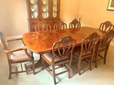 Stunning Wade Solid Wood Extending 2 Pedestal Dining Table & 8 Heart Back Chairs