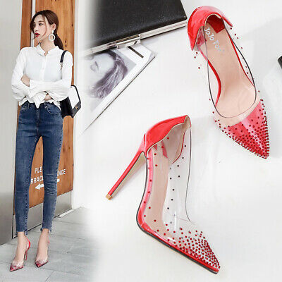 Sexy Womens Ladies Clear High Heels Stiletto Sandals Diamante Show Party Shoes