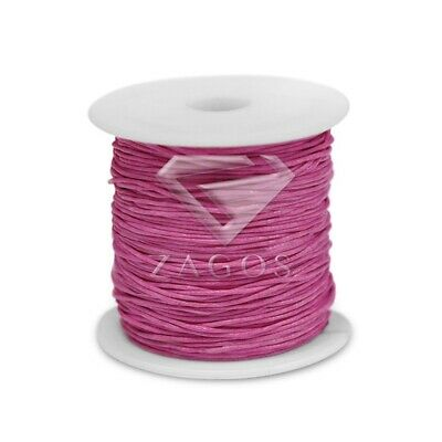 80m/Roll Waxed Cotton Cord Jewellery Making Beading Thread Thong 1x1mm Rose Red