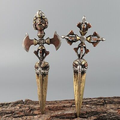 Chinese Exquisite Handmade people copper statue 2pcs