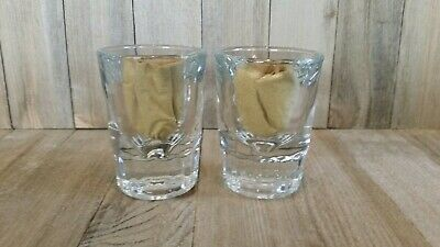 Lot of 2 Vintage Thick, Heavy Glass, Bar Shot Glasses