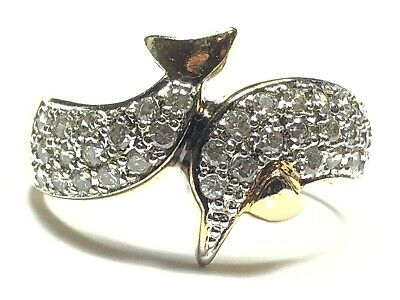 Beautiful Ladies Gold Vermeil Sterling Silver CZ Dolphin Ring - Size 8.5