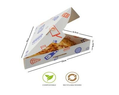 Supa Snax - White Disposable Cardboard Pizza Slice Fast Food Take Away Box Tray