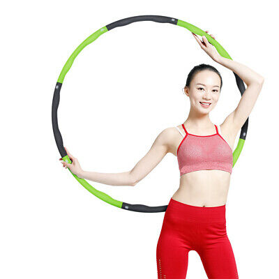 Collapsible 1KG Weighted Hula Hoop Sport Hoop Fitness Exercise Hoola Green&Gray
