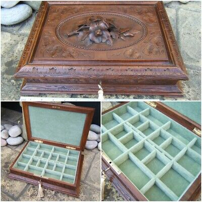 Massive 19C Black Forest Hand Carved Antique Jewellery Box - Fab Interior