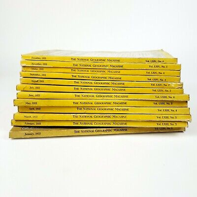 National Geographic Magazine 1933 Complete 12 Month Set Coca Cola Ads No Insert