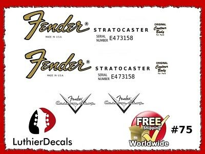 Fender Stratocaster Guitar Decal Headstock Decal Restoration Waterslide Logo 75