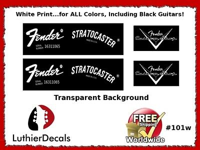 Fender Stratocaster Guitar Decal Headstock Decal Restoration Waterslide 101w