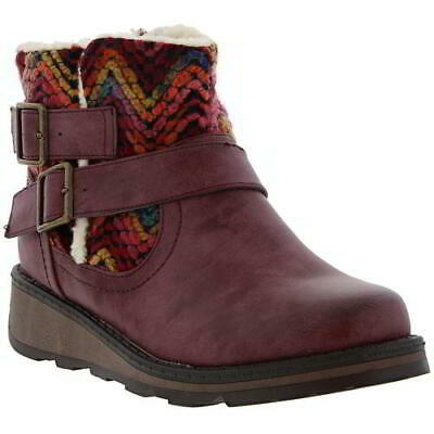 Heavenly Feet Kassy Womens Ladies Red Short Wedge Chelsea Ankle Boots Size 4-8