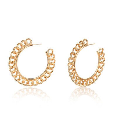 Fashion Design Women Circle Alloy Hemp Rope Hoop Statement Earrings Jewelry Gift