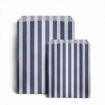 "100 x DARK BLUE CANDY STRIPE PAPER BAGS SWEET WEDDING GIFT SHOP PARTY 5"" x 7"""