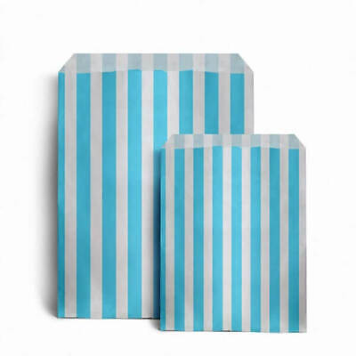 "100 x LIGHT BLUE CANDY STRIPE PAPER BAGS SWEET WEDDING GIFT SHOP PARTY 5"" x 7"""