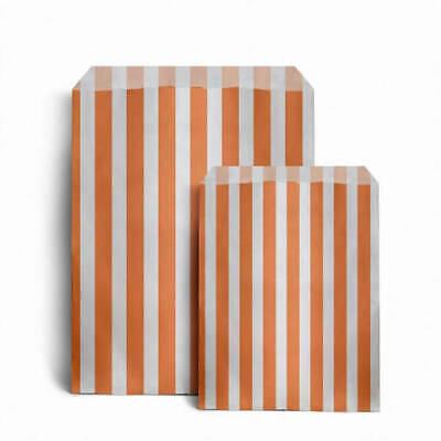 "100 x ORANGE CANDY STRIPE PAPER BAGS SWEET WEDDING GIFT SHOP PARTY 5"" x 7"""