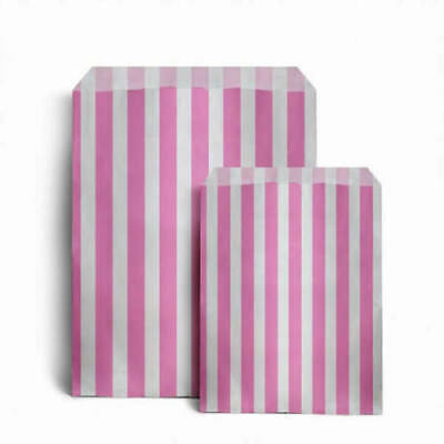 "100 x PINK CANDY STRIPE PAPER BAGS SWEET WEDDING FAVOUR GIFT SHOP PARTY 5"" x 7"""