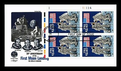 Dr Jim Stamps Us Moon Landing 20Th Anniversary First Day Cover Plate Block