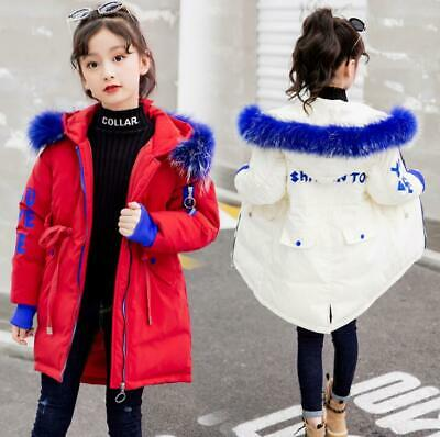 Girls Children Winter Fur Collar Cotton Down Jacket Hooded Coat Quilted Overcoat